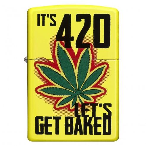 Encendedor Zippo Stamp Leaf get baked 28887 - Amarillo