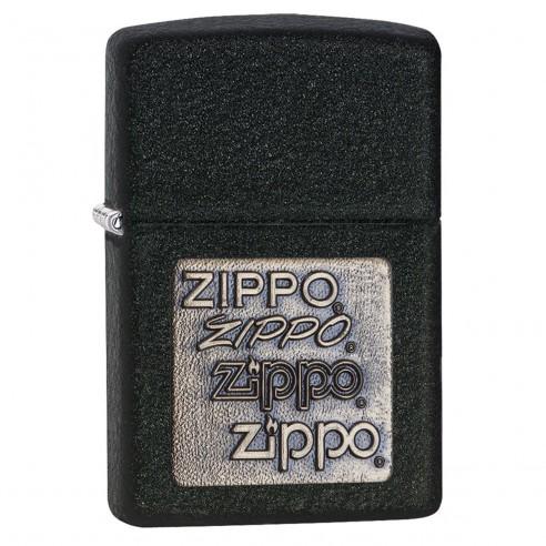 Encendedor Zippo TextureBlack Crackle Emblem 362 - Negro
