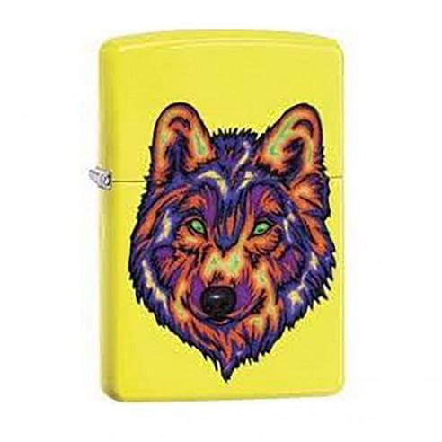 Encendedor Zippo Stamp Lobo Wolf 29639 - Amarillo Neón