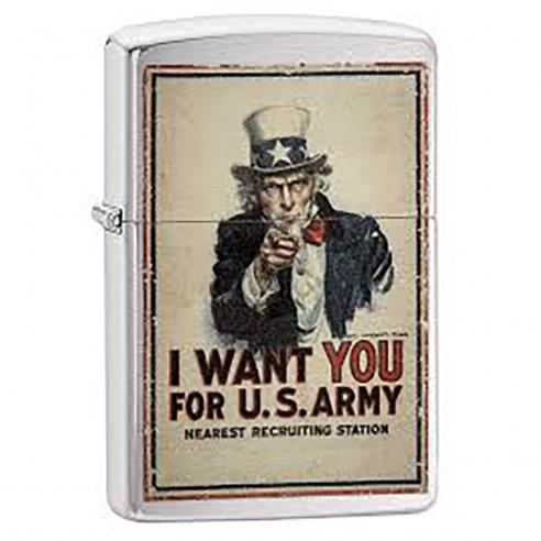 Encendedor Zippo Stamp Poster US Army 29595 - Chrome