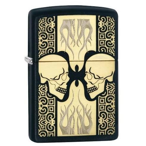 Encendedor Zippo Stamp Skulls Flaming Face 29404 Black Matte - negro