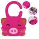 Babero de Silicona Animal Baby Bib Vaca Pink