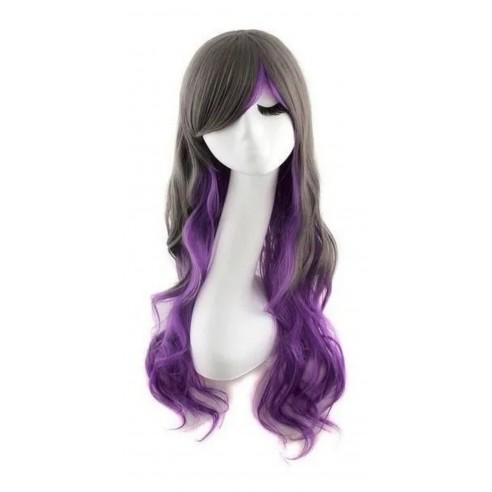 Peluca Bicolor Harajuku de kanekalon Cosplay de 70 y 80 cm de largo ideal para Halloween