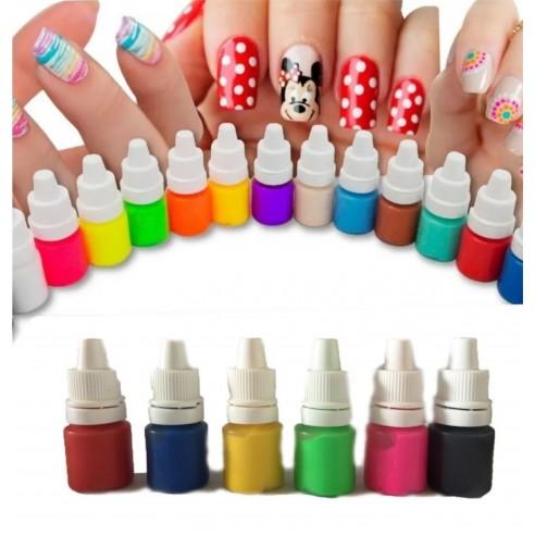 Kit de 12 Pinturas Acrílicas Nail Art para decoración de uñas y Manicure