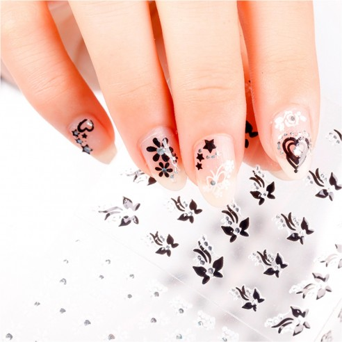 Kit x6 Decals Glow in the Dark 3D aplicativos adhesivos Nail Art Salon Effects para Decoración de uñas
