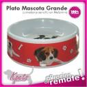 Comedero Grande para mascotas plato en melamina con diseño Circular