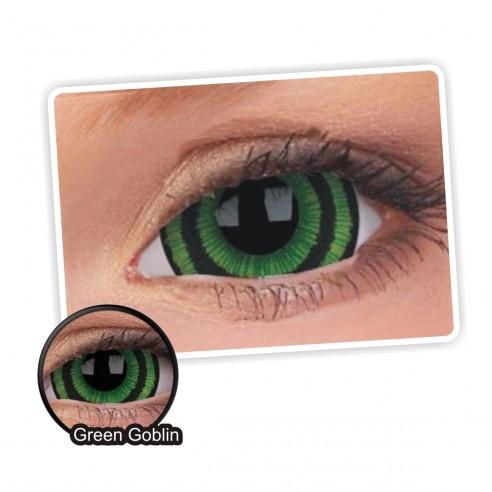 Lentes de contacto Mini Sclera Lens Crazy, Green Goblin, Lentes Halloween y Efectos de Cine Duende Verde