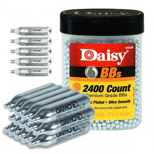 Combo AirSoft 2400 Balines Daisy 4.5mm + 20 Pipetas Crosman Co2 12gr