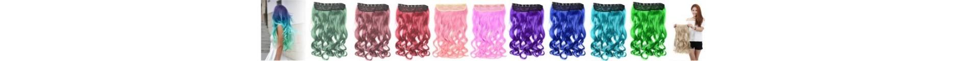 Cortinas de cabello Unicolor extensiones Onduladas Largas !!